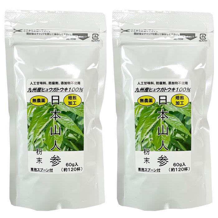 日本山人参粉末 50g 専用スプーン付 2袋セット 国産ヒュウガトウキ乾燥粉末 健康食品茶 イワイ薬局